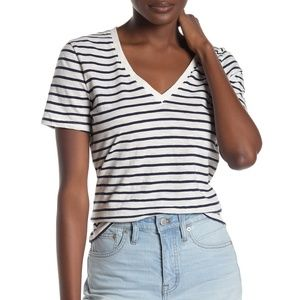 Madewell Theresa Striped V-Neck T-Shirt Top L